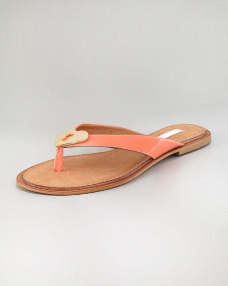 Kyra Patent Heart-Lock Flat Thong Sandal, Peach/Fuchsia