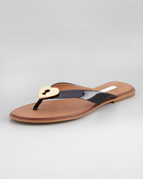Kyra Patent Heart-Lock Flat Thong, Black