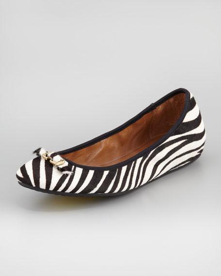 Bion Calf Hair Ballerina Flat, Zebra-Print