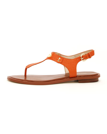 Logo-Plate Leather Thong Sandal