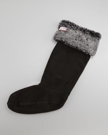 Grizzly-Cuff Fleece Welly Socks, Black