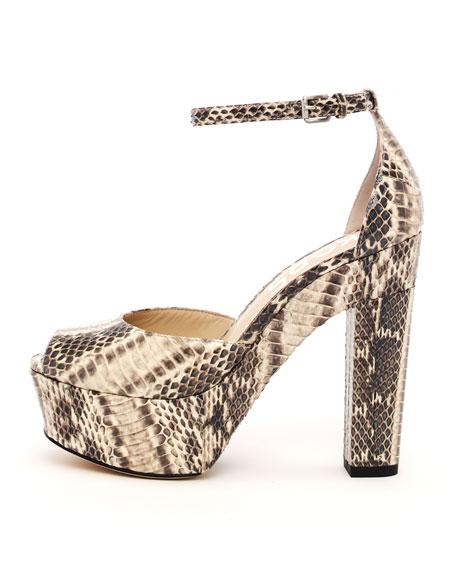 Hannon Snakeskin Ankle Strap Platform Sandal