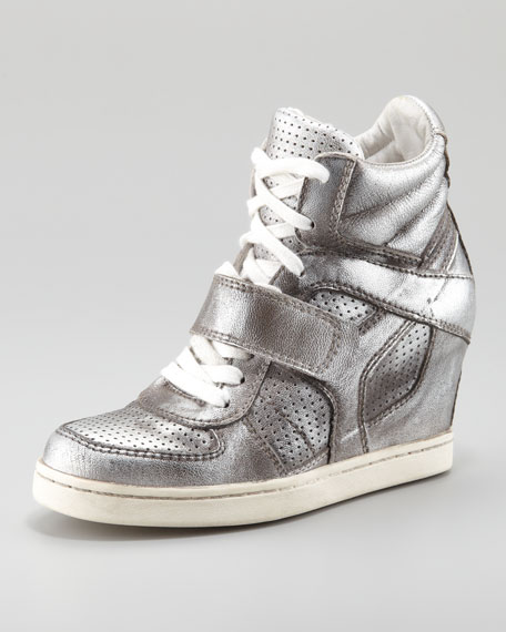 Metallic Leather High-Top Wedge Sneaker