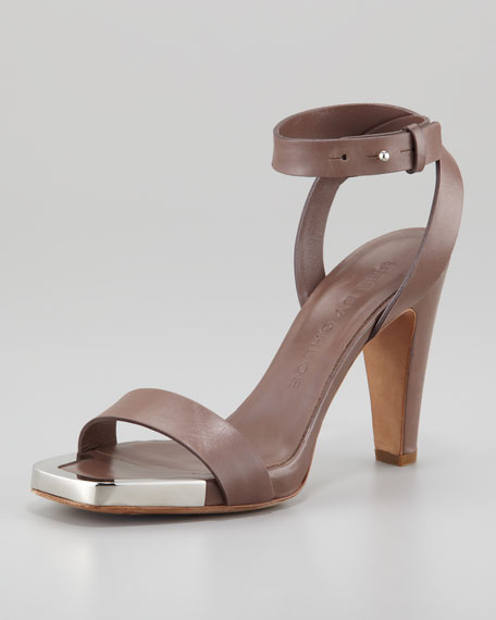 Metal-Toe Heeled Sandal, Brown