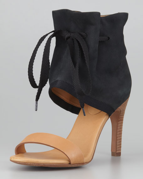 Ruched Ankle-Cuff Sandal, Black