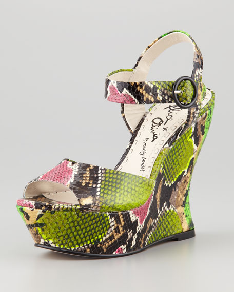 Jana Snake-Embossed Wedge, Multi