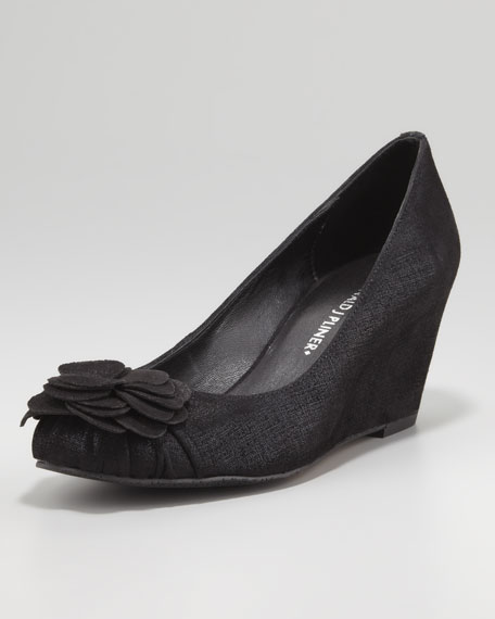 Nalini Flower-Toe Wedge, Black