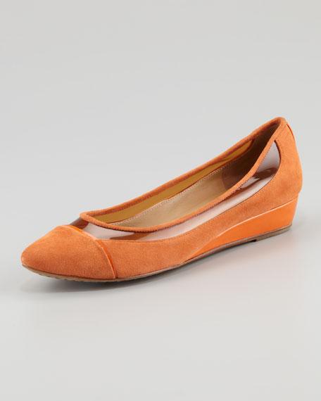 Nerina Suede Wedge, Tangerine