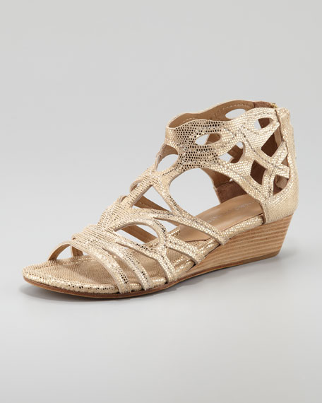 Delite Metallic Cutout Low Wedge Sandal, Gold