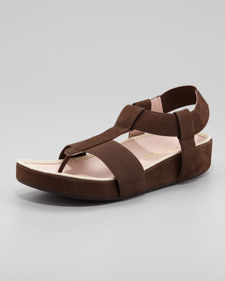 Elastic Leather Thong Sandal, Teak Brown