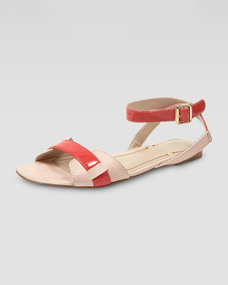 Two-Tone Ankle-Wrap Sandal, Natural