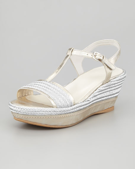 Flatty Metallic Raffia Flatform Wedge Sandal, Silver