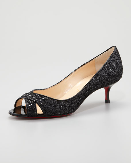 Croisette Low-Heel Red Sole Glitter Pump, Black