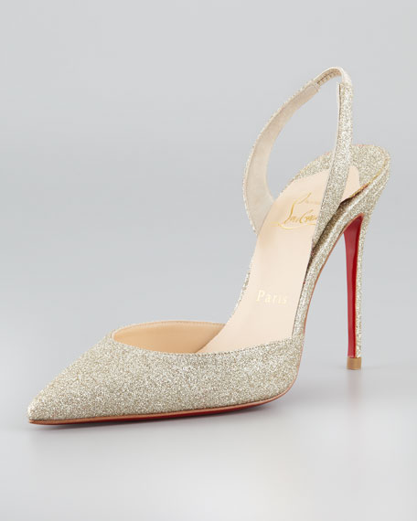 Ever Glitter Slingback Red Sole Pump, Platine