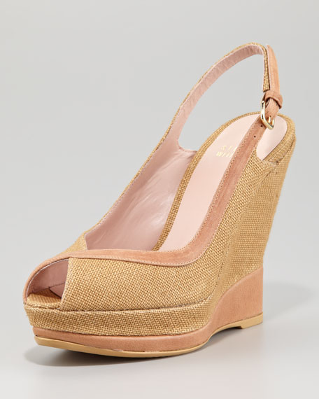 Round Here Canvas Wedge Slingback, Natural