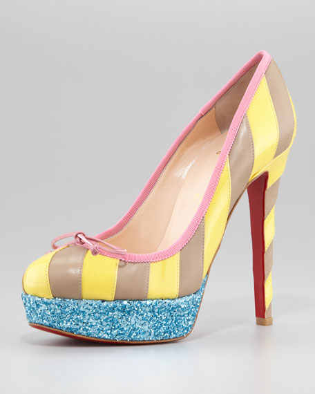 Foraine Glitter-Platform Striped Red Sole Pump