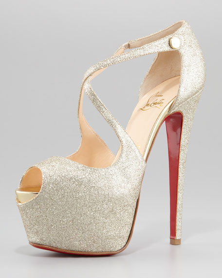 Exagona Glitter Crisscross Red Sole Pump, Gold
