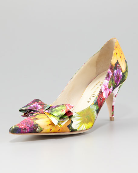 Carron Digital Floral-Print Satin Pump