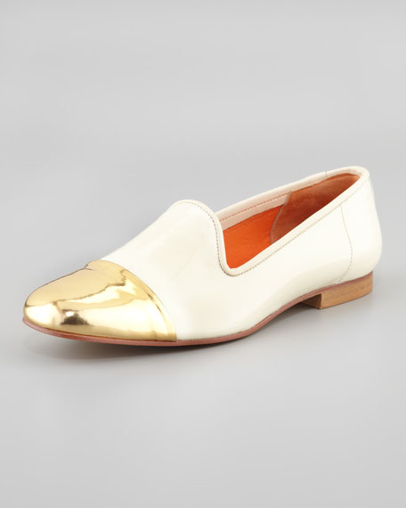 Premier Metallic Cap-Toe Suede Smoking Slipper, Cream/Gold