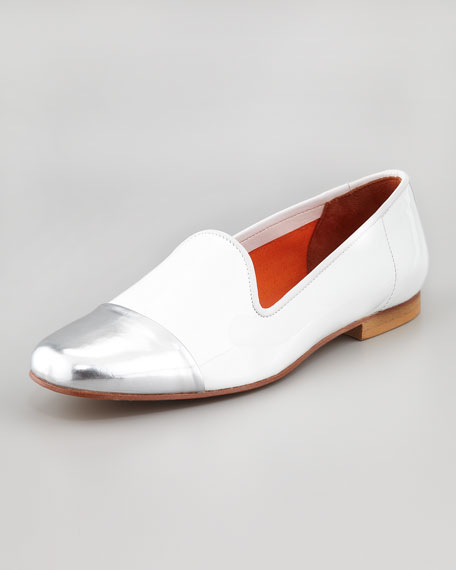 Premier Metallic Cap-Toe Suede Smoking Slipper, White/Silver