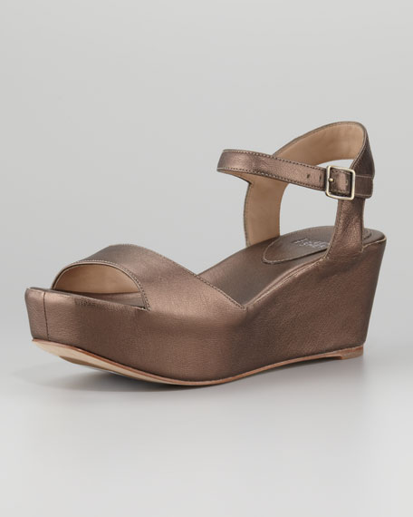 Metallic Leather Wedge Sandal