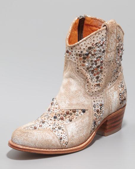 Deborah Star-Studded Ankle Boot, White