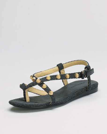Crisscross Cotton Canvas Flat Sandal