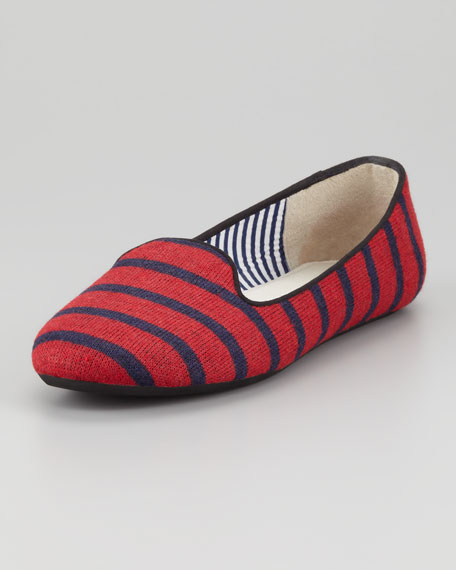Sheila Striped Wool Smoking Slipper, Navy/Red