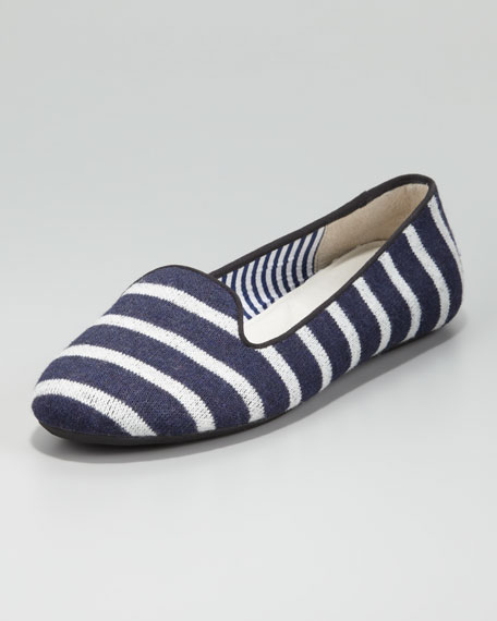 Sheila Striped Wool Smoking Slipper, Navy/White
