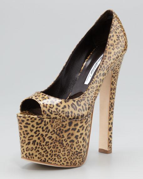 Alesha Leopard-Print Patent Leather Platform Pump