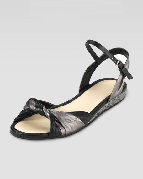 Kaylin Flat Knot Sandal, Black/Gunsmoke
