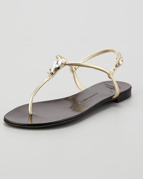 Drop Stone Metallic  Thong Sandal, Gold