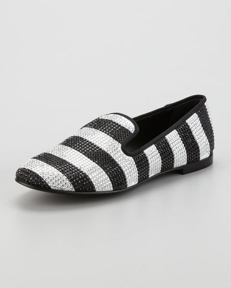 Stripe Strass Smoking Loafer