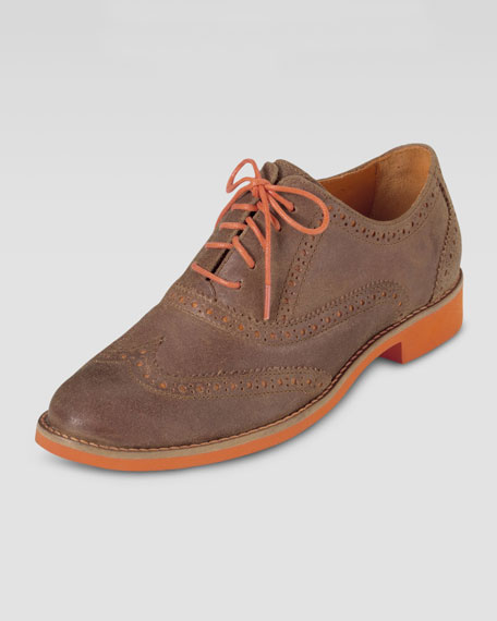 Alisa Two-Tone Oxford, Tan/Orange