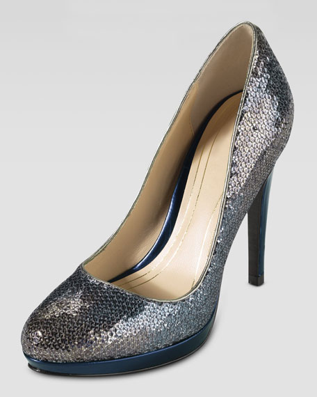 Chelsea High Sequin Pump, Smoke Oil Spill