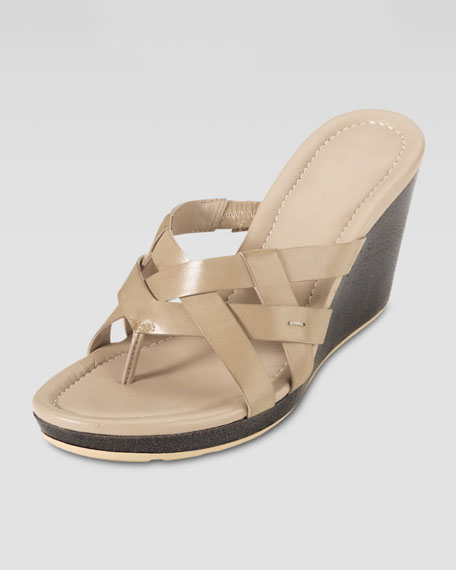 Bonnie Strappy Wedge Thong Sandal, Sandstone