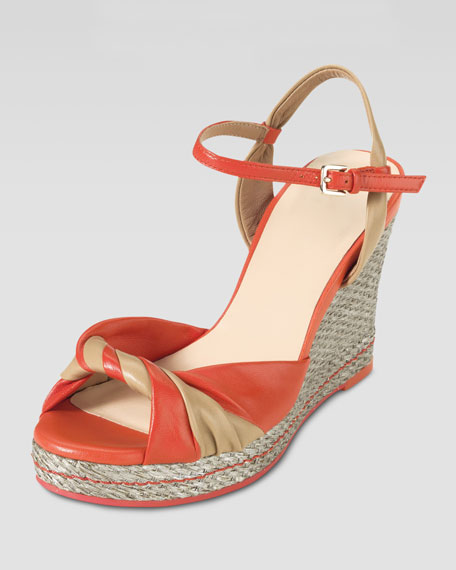 Cascadia High-Heel Wedge Sandal, Orange/Sandstone