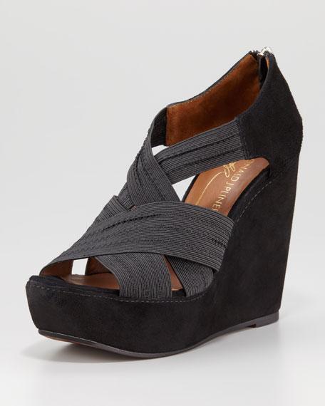 Lawney Elastic-Strap Wedge, Black