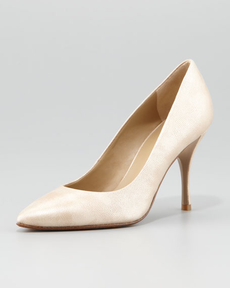 Brave Shimmery Pointed-Toe Pump, Champagne