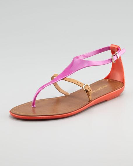 Rubber Thong Sandal, Pink/Orange