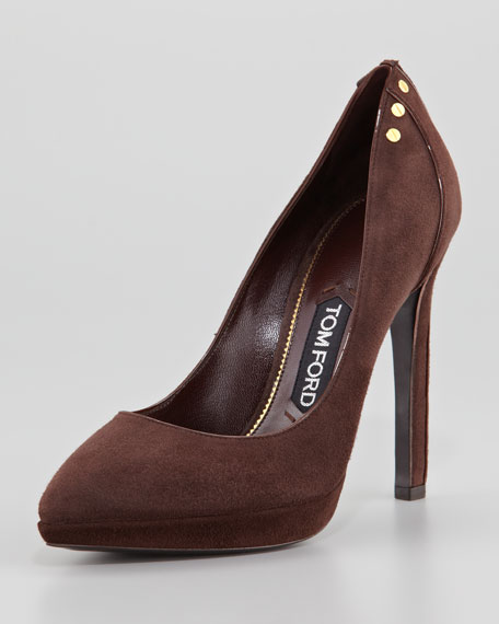 Screw-Studded Suede Pointed-Toe Pump