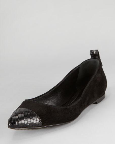 Suede & Python Cap-Toe Skimmer