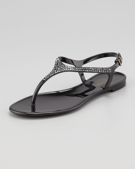 Crystal-Encrusted PVC Sandal, Black