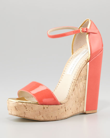 d'Orsay Patent Cork Wedge, Coral
