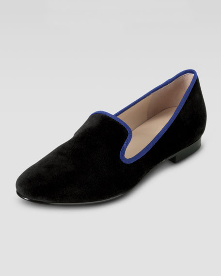 Sabrina Suede Smoking Slipper, Black/Cobalt