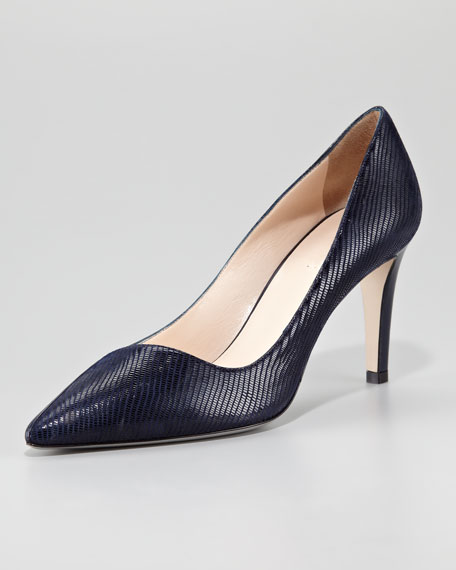 Lizard-Embossed Leather Pump, Blue