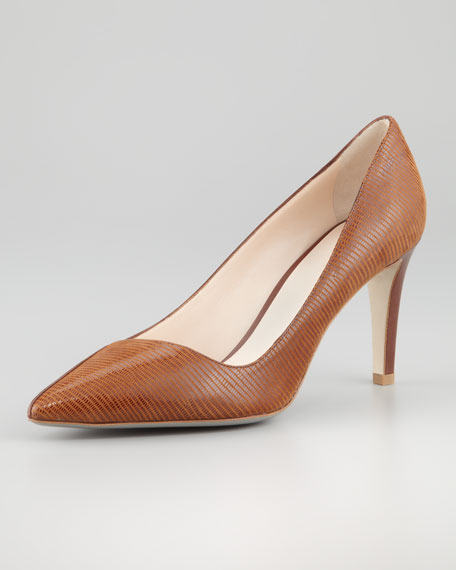 Lizard-Embossed Leather Pump, Cognac