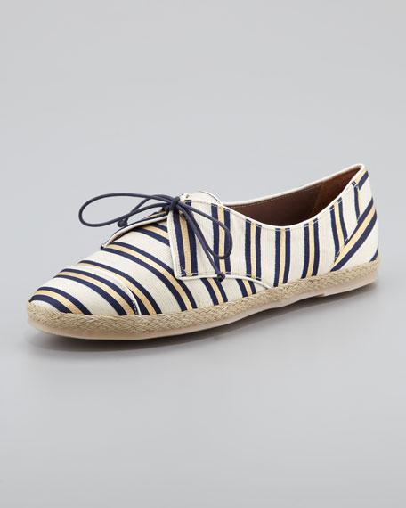 Tie-Striped Flat Espadrille Sneaker, Gold/Navy