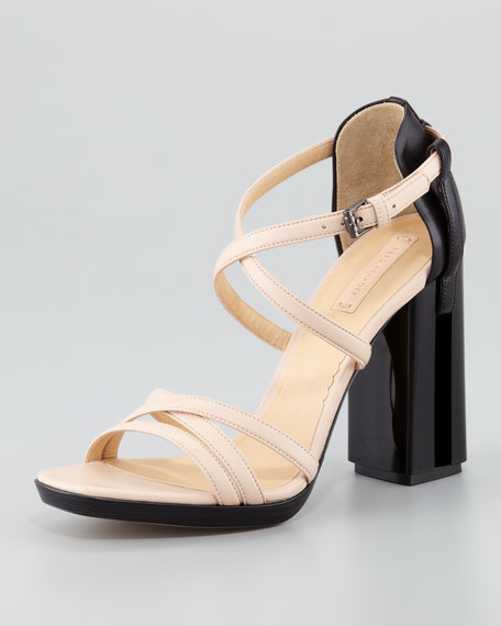 Illusion High-Heel Crossover Sandal, Nude/Black