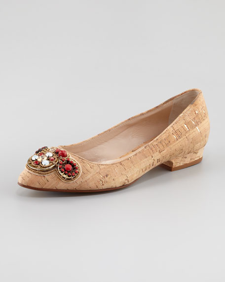 Alessia Embroidered Cork Ballerina Flat